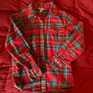 Boys red, blue, green plaid flannel shirt